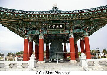 coreano, amistad, campana