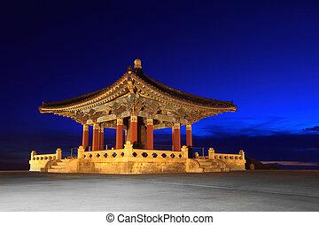 coreano, amistad, campana, señal, en, san pedro, california
