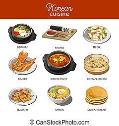 coreano, cocina, tradicional, platos, plano, icons.