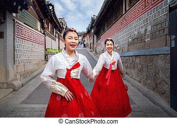 coreano, dama, hanbok