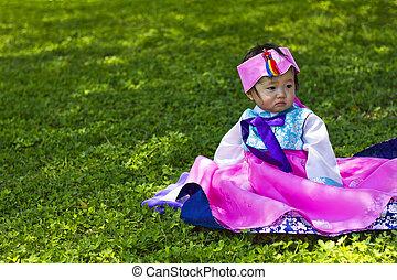 coreano, hanbok, hembra