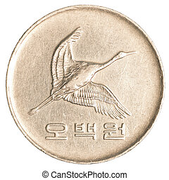 coreano, moneda, 500, sur, wons