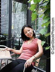 coreano, mulher, jardim