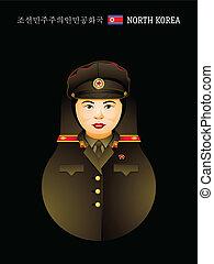 coreano, norte, niña, matryoshka