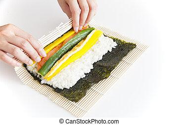 coreano, sushi, preparar