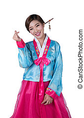 coreano, vestido, hanbok, menina