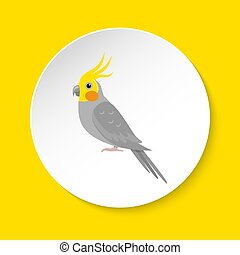 Corella parrot icon in flat style