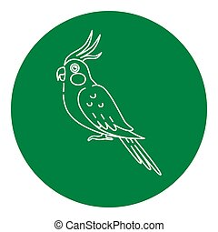 Corella parrot icon in thin line style