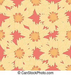 Coreopsis Flower Seamless Vector Pattern