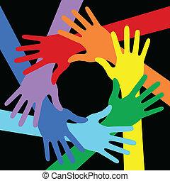 cores arco-íris, experiência preta, mãos, ícone