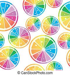 cores arco-íris, limões