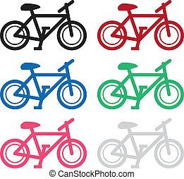 cores, bicicleta, silueta