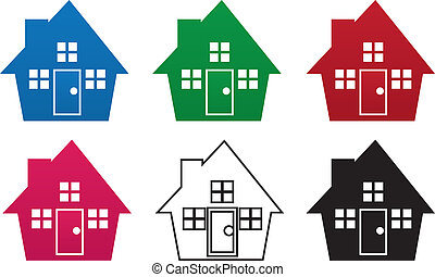cores, casa, silueta