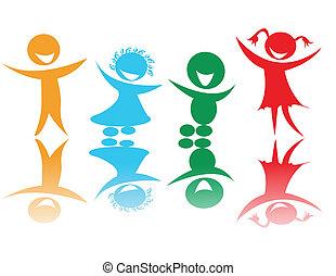 cores, crianças, feliz