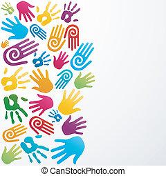 cores, diversidade, mão humana