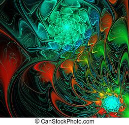 cores, ilustração, espiral, luminoso, fundo, noturna