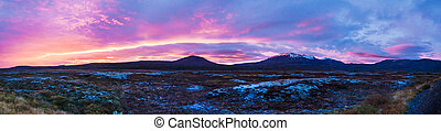 cores, islandês, pôr do sol