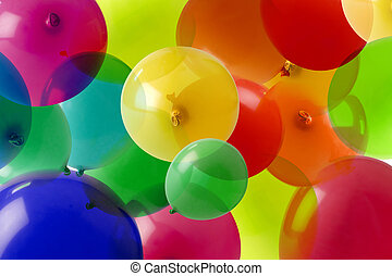 cores, muitos, balloon, fundo
