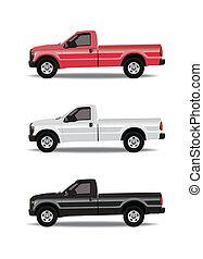 cores, pick-up, três, caminhões