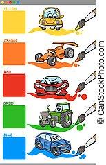 cores, principal, caricatura, veículos