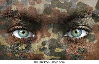 cores, soldado, camo, rosto