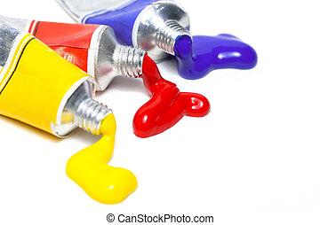 cores, três, primário