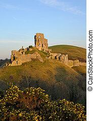 Corfe Castle Ruins in Corfe Dorset. - Corfe Castle Ruins in...