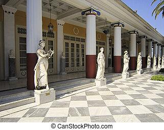corfu, achillion, palacio, grecia, estatuas