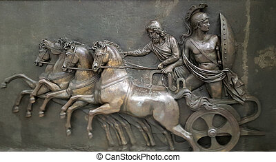 CORFU, GREECE- January 21, 2018: Metallic Panel depicting Achilles in his chariot during the Trojan War in the Achilleion palace, on Corfu island, Greece