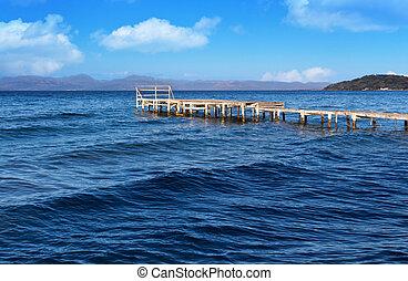 corfu, vecchio, legno, isola, grecia, banchina