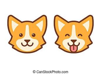 Corgi dog face icon - Cute cartoon corgi face. Flat dog head...