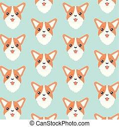 corgi gallois, orange., chien, heureux
