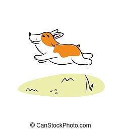 corgi, illustration., vecteur, courant, chien