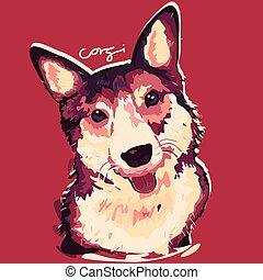 corgi, pittura, cane, manifesto