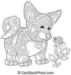 corgi, zentangle, perrito, estilizado, galés
