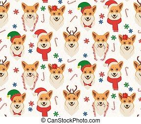 corgis., muster, weihnachten, seamless