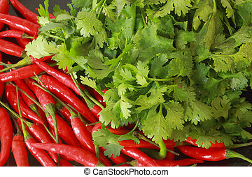 Coriander and red pepper.