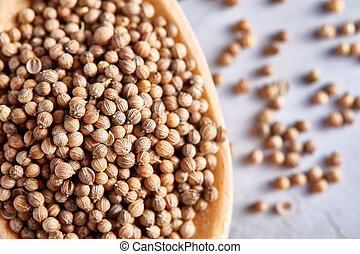 Coriander in wooden spoon with clipping path on white textured background, close-up, shallow depth of field.