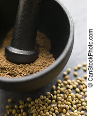Coriander Powder in a Pestle and Mortar with Coriander Seeds