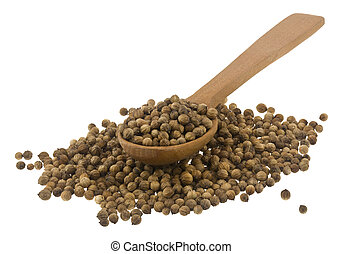 Coriander seeds in a wooden spoon Isolated on a white background.