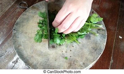 Coriander vegetable split on wood cutting board