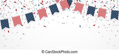 coriandoli, america, giorno, nastro, indipendenza