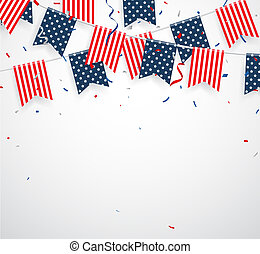 coriandoli, americano, giorno, nastro, indipendenza