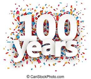 coriandoli, carta, segno., cento, anni