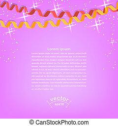 coriandoli, e, fiamme, su, luminoso rosa, festivo, fondo., vettore