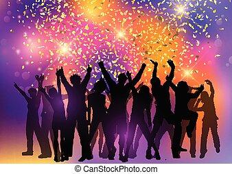 coriandoli, festa, astratto, fondo, folla