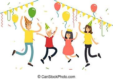 coriandoli, festa., cappelli, bianco, carattere, festeggiare, festa, vettore, bambini, famiglia, illustrazione, fondo., divertente, balloons., genitori, saltare
