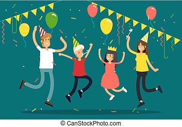 coriandoli, festa., cappelli, carattere, festeggiare, festa, vettore, bambini, famiglia, colorito, illustrazione, fondo., divertente, balloons., genitori, saltare