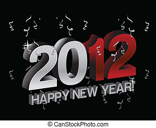 coriandoli, nuovo, felice, 2012, anno