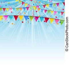 coriandoli, vacanza, bandiere, fondo, compleanno